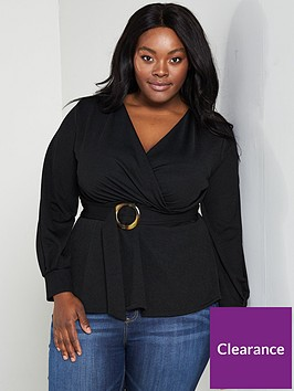 v-by-very-curve-wrap-peplum-belted-crepe-top-black