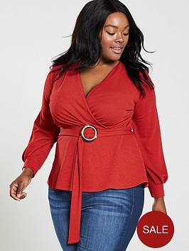v-by-very-curve-wrap-horn-ring-belted-crepe-top-red