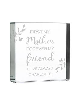 Product photograph showing Personalised First My Mother Forever My Friend Large Crystal Token