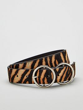 V by Very V By Very Orla Double Circle Detail Leather Belt - Zebra Picture