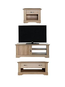Very  Cornwall 3 Piece Package &Ndash; Tv Unit, Coffee Table And Lamp Table - Oak Effect