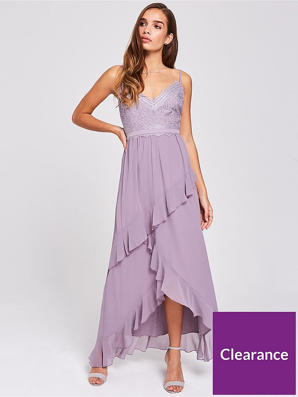 Little Mistress Lace Top Strappy Maxi Dress
