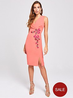 little-mistress-embroiderednbspwrap-fitted-bodycon-dress-grapefruit