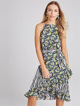 Girls on Film Girls On Film Girls On Film Print Mix Belted Midi Dress Picture