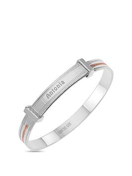 the-love-silver-collection-personalised-sterling-silver-childrens-expander-bangle-with-rose-gold-plated-millgrain-detail