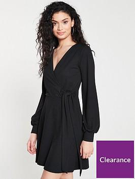 v-by-very-tie-wrap-skater-dress-black