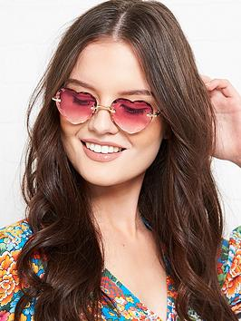 Chloe Chloe Heart Shaped Gradient Lens Sunglasses - Pink Picture