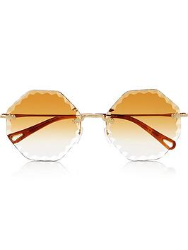 chloe-rimless-hexagon-sunglasses-gold