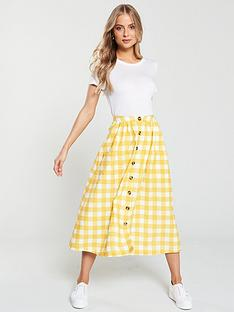 v-by-very-gingham-button-front-skirt