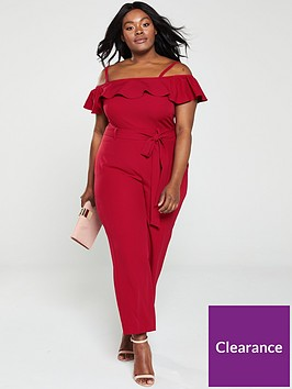 v-by-very-curve-cold-shoulder-ruffle-jumpsuit-red