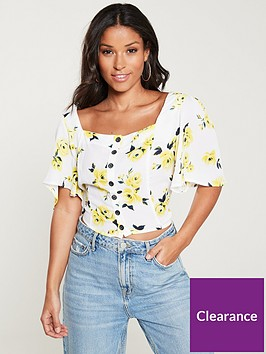 v-by-very-floral-co-ord-top-print