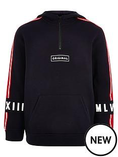 river-island-boys-tape-sleeve-half-zip-hoodie-navy