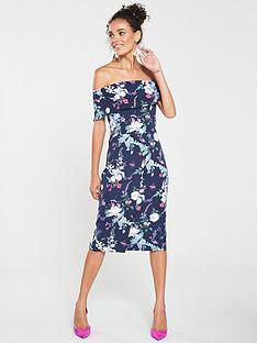 oasis-bloom-print-bardot-pencil-dress-blue
