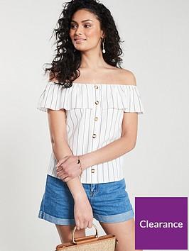 oasis-linen-look-stripe-button-through-bardot-top-natural