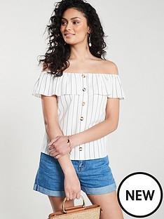 oasis-oasis-linen-look-stripe-button-through-bardot-top