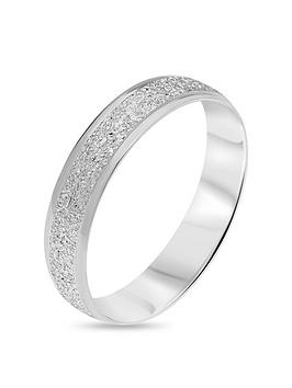 Love GOLD Love Gold 9Ct White Gold Diamond Cut Sparkle 4Mm D Shape Wedding  ... Picture