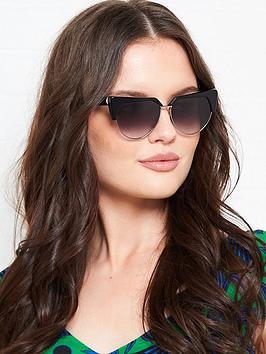 Karl Lagerfeld  Cat Eye Flat Top Sunglasses - Black