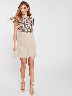 frock-and-frill-beaded-embroidery-pleated-bottom-skater-dress-nude