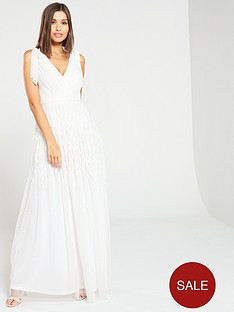 frock-and-frill-beaded-applique-bow-v-neck-maxi-dress-white