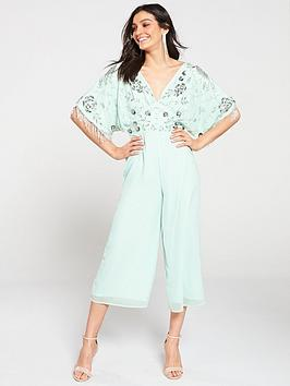 frock-and-frill-beaded-applique-wide-leg-cape-jumpsuit-mint