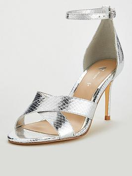 V by Very V By Very Gemima Wide Fit Mid Heel Barely There Sandals - Silver Picture