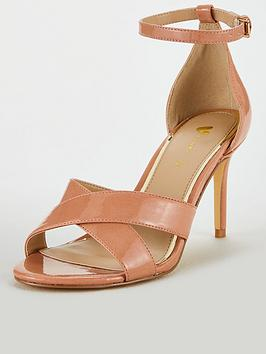 V by Very V By Very Gemima Wide Fit Mid Heel Barely There Sandals - Nude Picture