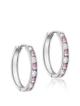 the-love-silver-collection-sterling-silver-pink-amp-white-cubic-zirconia-channel-set-hoop-earrings