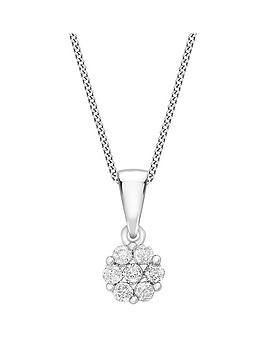 Love DIAMOND Love Diamond 9Ct White Gold 10 Point Diamond Cluster Pendant  ... Picture