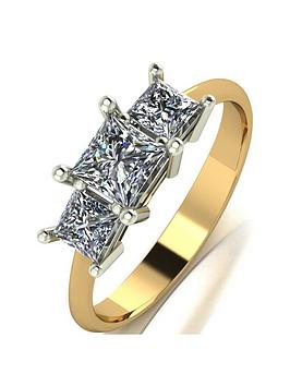Moissanite Moissanite 9Ct Gold 1 Carat Eq Moissanite Square Trilogy Ring Picture