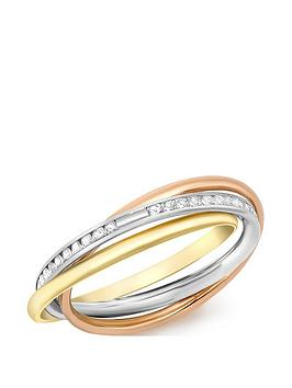Love GOLD Love Gold 9Ct Gold Tri-Colour Cubic Zirconia Russian Band Ring Picture