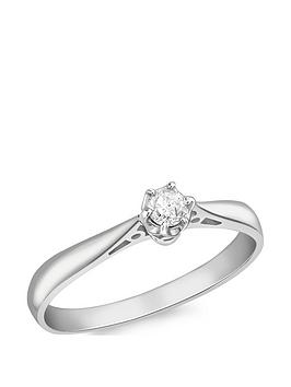 Love GOLD Love Gold 18Ct White Gold 10Pt Diamond Solitaire Ring