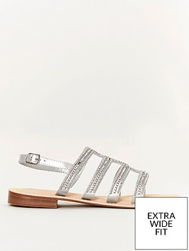 evans-extra-wide-fit-jewelled-flat-sandals-silver