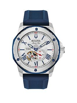 bulova-bulova-silver-and-blue-detail-automatic-skeleton-eye-dial-blue-leather-strap-mens-watch