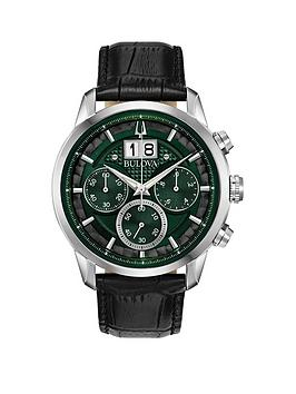 Bulova Bulova Bulova Sutton Green Chronograph Dial Black Leather Strap  ... Picture