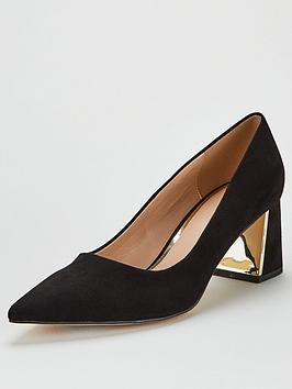 V by Very V By Very Daska Point Block Heel Court Shoes - Black Picture