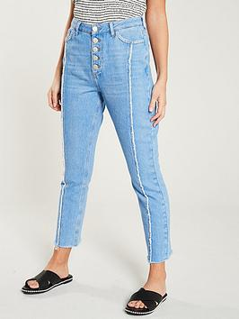 v-by-very-seam-front-girlfriend-straight-jean-bright-blue
