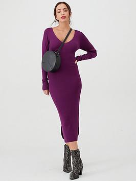 v-by-very-skinny-rib-v-neck-knitted-midi-dress-grape