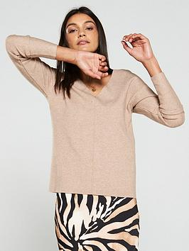 v-by-very-v-neck-rib-jumper-biscuit-marl