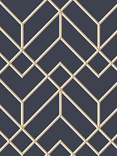 superfresco-easy-losanges-filaires-navy-wallpaper