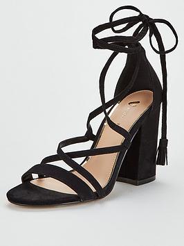 V by Very V By Very Brazil Tie Leg High Block Heel Sandal - Black Picture