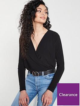 v-by-very-wrap-blouson-top-black