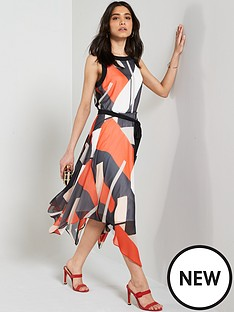 wallis-geo-print-colour-block-hanky-hem-dress-multi