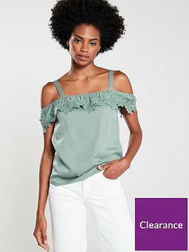 oasis-lace-trim-bardot-caminbsp--khaki