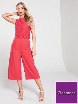 oasis-lace-bodice-jumpsuit-coral
