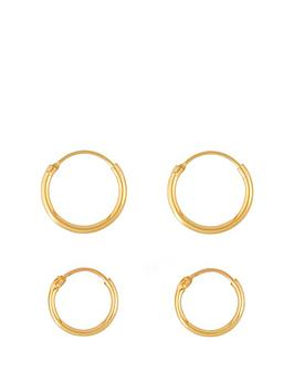 Love GOLD Love Gold 9Ct Gold Set Of Two 11Mm & 13Mm Hinged Hoop Earrings Picture