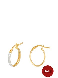 49940656b Love GOLD 9ct Gold 23mm Diamond Cut Oval Tube Hoop Earrings with Rhodium  Plated Edge