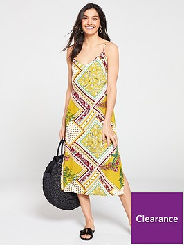 warehouse-scarf-print-cami-dress-multi