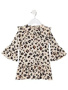 8e36c52cf27b River Island Mini Mini girls leopard print swing dress - brown