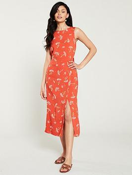 warehouse-dandelion-print-midi-dress-coral