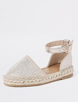 67ae77602 River Island Mini Mini girls gem espadrille sandals - gold ...